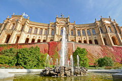 Maximilianeum - Bavarian state parliament with fountain in Munich, Bavaria Germany Stock Photo