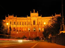Maximilianeum, Munich. The Maximilianeum at night. It was constructed by Friedrich Bürklein 1857 – 1874 and is located the high Isar skore. It is the royalty free stock photos