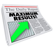 Maximium Results Newspaper Article Headline Big Announcement ROI Royalty Free Stock Images