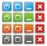 Maximize minimize square buttons Stock Images