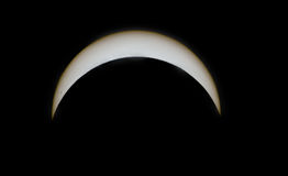 Maximum av förmörkelse 2017 med solfläckar Arkivbilder