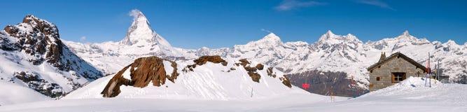 maximum för liggandematterhorn panorama Fotografering för Bildbyråer