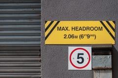 Maximum headroom for vehicles, UK Stock Images