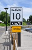Maximum 10km/hr sign Royalty Free Stock Photography