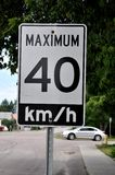 Maximum 40 km/hr sign Stock Photos