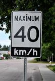 Maximum 40 km/hr signage Royalty Free Stock Photos