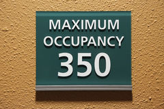 Maximum occupancy 350 sign Royalty Free Stock Photo