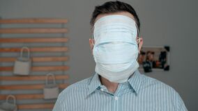Free Maximum Protection For Cold, Flu, Virus, Acute Respiratory Infections, Quarantine, Epidemic, Irony, Sarcasm Concept. Tired Sick Royalty Free Stock Photos - 174269008
