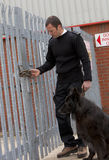 Maximum security. A security guard and guard dog inspecting a heavy duty padlock on a factory gate Stock Photography