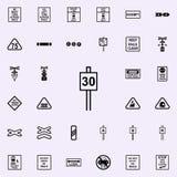 maximum snelheidteken 30 pictogram Voor Web wordt geplaatst dat en mobiel de pictogrammenalgemeen begrip van spoorwegwaarschuwing royalty-vrije illustratie