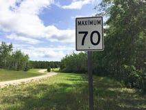 Maximum soixante-dix kilomètres par signe d'heure Photos libres de droits