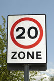 Maximum Speed. 20 mph speed zone warning sign Royalty Free Stock Photo