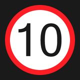 Maximum speed limit 10 flat icon Royalty Free Stock Images
