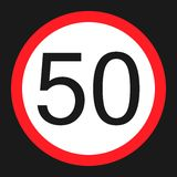 Maximum speed limit 50 flat icon Stock Photos