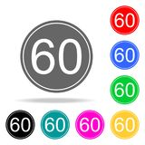 Maximum speed limit 60 icon. Elements in multi colored icons for mobile concept and web apps. Icons for website design and develop. Ment, app development on Royalty Free Illustration