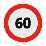 Maximum speed limit icon, flat style. Maximum speed limit icon. Flat illustration of maximum speed fifty limit vector icon for web Stock Photo