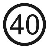Maximum speed limit 40 line icon. Traffic and road sign, vector graphics, a solid pattern on a white background, eps 10 Stock Photo