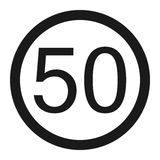 Maximum speed limit 50 line icon Stock Images