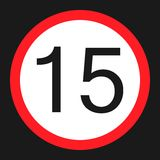 Maximum speed limit 15 sign flat icon. Maximum speed limit 15 flat icon, Traffic and road sign, vector graphics, a solid pattern on a black background, eps 10 stock illustration