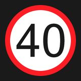 Maximum speed limit 40 sign flat icon Stock Photography