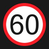 Maximum speed limit 60 sign flat icon Royalty Free Stock Photography