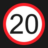 Maximum speed limit 20 sign flat icon Stock Photos