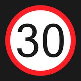 Maximum speed limit 30 sign flat icon Royalty Free Stock Photos