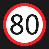 Maximum speed limit 80 sign flat icon Stock Photography