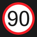Maximum speed limit 90 sign flat icon Royalty Free Stock Photo