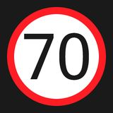 Maximum speed limit 70 sign flat icon Royalty Free Stock Photography
