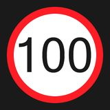 Maximum speed limit 100 sign flat icon Stock Images