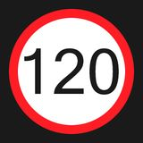Maximum speed limit 120 sign flat icon Royalty Free Stock Photos