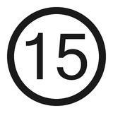 Maximum speed limit 15 sign line icon. Maximum speed limit 15 line icon, Traffic and road sign, vector graphics, a solid pattern on a white background, eps 10 vector illustration