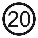 Maximum speed limit 20 sign line icon Royalty Free Stock Photography