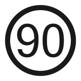 Maximum speed limit 90 sign line icon Royalty Free Stock Image
