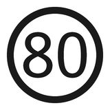 Maximum speed limit 80 sign line icon Stock Image