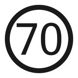 Maximum speed limit 70 sign line icon Royalty Free Stock Image