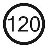 Maximum speed limit 120 sign line icon Royalty Free Stock Image