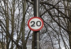 Maximum Speed 20 mph royalty free stock image