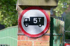 Maximum weight 5 tonnes for vehicles crossing bridge sign Royalty Free Stock Image