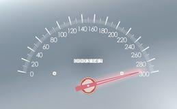 Maximumsnelheid op de snelheidsmeter Stock Fotografie