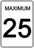 Maximun speed sign. 25 km speed limit road sign Royalty Free Stock Images