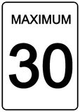 Maximun Speed Sign. 30 km speed limit road sign Royalty Free Stock Photos