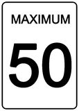 Maximun Speed Sign. 50 km speed limit road sign Royalty Free Stock Photography