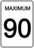 Maximun Speed Sign. 90 km speed limit road sign Stock Images
