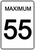 Maximun Speed Sign. 55 km speed limit road sign Royalty Free Stock Photos