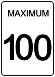 Maximun speed sign. 100 km speed limit road sign Stock Images