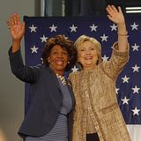 Maxine Waters and Hillary Clinton wave at Campaign rally for Pre. LOS ANGELES, CA - APRIL 16, 2016: US Democratic Presidential candidate Hillary Clinton stock photo