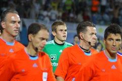 Maxym Koval of Dynamo Kyiv and referees Stock Photo