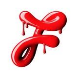 Mayúscula rojo brillante de la letra F representación 3d Fotos de archivo libres de regalías